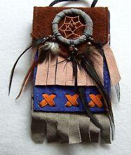Brustbeutel blau 228 Halskette Dreamcatcher schwarz Leder Traumfänger necklace