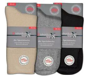 3 Paar Damen Diabetiker Socken ohne Gummi ohne Naht schwarz grau beige Baumwolle
