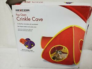 Sport Pet Designs Pop Open Crinkle Cave For Cats Red in color