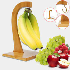 WOODEN BAMBOO BANANA HANGER TREE KITCHEN FRUIT RACK CHROME HOOK STORAGE STAND
