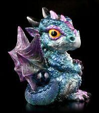 Blaue Drachen Figur - Blaze mit Kugel - Fantasy Statue Deko Baby Drachenbaby