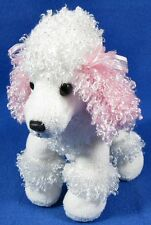 "Aurora 7"" Mini White Poodle Puppy Dog Plush Stuffed Animal Pink Bow"
