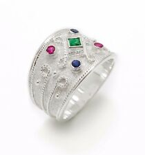 Wide Multistone Sterling Silver Ring Statement Ruby Emerald Sapphire Byzantine