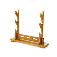 Wood Samurai Sword Katana Wakizashi Tanto Stand Holder Display Rack 3 Layer New