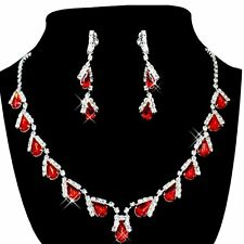 Women's Jewelry Set Bridal Wedding Red Teardrop Pearlse Necklace Earrings S7U7