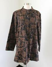Chicos Black Brown Floral Print Duster Jacket Chico's Size 2 Mandarin Collar