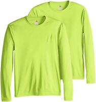 Hanes Men's Long Sleeve Cool Dri T-Shirt UPF 50-,, Safety Green, Size Small 2pTQ