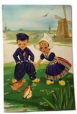 Cartoon Children Feed Ducks Illustrated Holland Netherlands Vintage Postcard