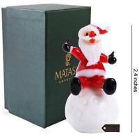 Murano Christmas Winter Decorative Glass  Santa on Snowball Figurine, Christmas