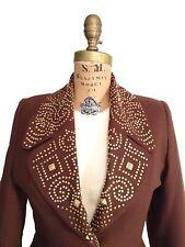 Vtg. Gold studded Rust Brown Wool Tailored Blazer- Peplum Detail By Bette Bass