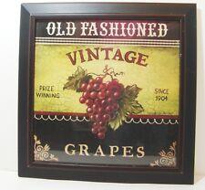 Old Fashioned Vintage Grapes Framed Print Wine Decor