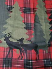 Red and Black Plaid Fabric Shower Curtain Deer Trees Country Bathroom Accessory