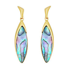 Paua Jewelry - Gold Plated Drop Stud Earrings (PE284)
