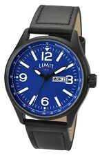 Mens Limit Watch Blue Dial Day & Date Display Black Leather Strap 5622