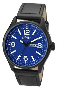 BRAND NEW MENS LIMIT WATCH BLUE DIAL DAY & DATE DISPLAY BLACK LEATHER STRAP 5622