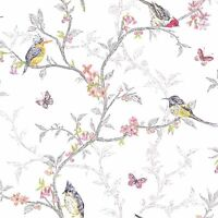 PHOEBE BIRDS WHITE WALLPAPER 98080 HOLDEN DECOR FLORAL FEATURE WALL HOME DECOR