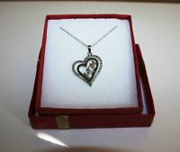 Genuine Black Diamond Mom Heart Pendant Necklace 14k White Gold over 925 SS