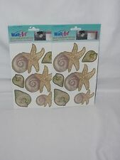Wall Art Self Adhesive Decals Sea Shells Washable Fade Resistant New Lot of 2