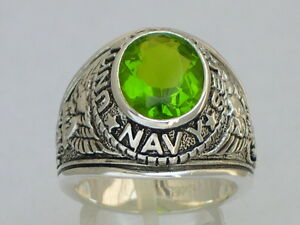 925 Sterling Silver August Peridot Birthstone US Military Navy Men Ring Size 9