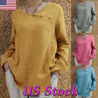 Women O Neck Long Sleeve Shirt Blouse Lady Casual Loose Cotton Linen T-Shirt Top