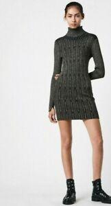 All Saints Rose Cable Knit Dress - Black/Gold Size XS UK 8