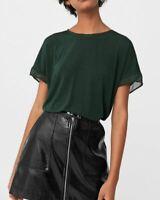 Mango Contrast T-shirt Dark Green UK Medium LN190 WW 03