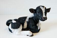 Garden Resin Animal Gift Ornament Pet Sitting Farm Yard Black White Cow