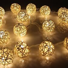 New Wicker Rattan Ball Indoor Bedroom Xmas Fairy String Lights 20 Warm White LED