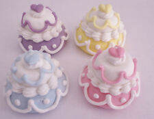 24 x 3D Wedding Cake Cupcake Toppers Kitchen Tea Bridal Shower Decorations Cakes
