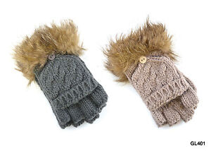 Ladies Capped Fingerless Gloves / Mittens with Fur Trim