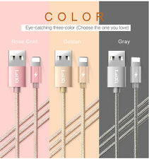 Silver 1M LAIXI Nylon Braided Wire Metal Micro USB Charger Cable For iPhone 7 6S