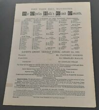1895 Sir Charles Halle Grand Concert Programme  Manchester  Mr. Plunket Greene