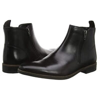 Clarks Stanford Zip Chelsea Boots Mens Black Zipped Leather Formal Shoes