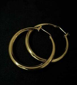 "14k Yellow Gold Earrings With Amazing Shine "" No Reserve "" Huggies Hoop Earrings"