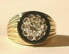 Signet Ring 18CT GOLD 1.80ct SOLITAIRE DIAMOND RING with  black onyx with cert