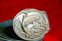 Vintage bronze brass salmon fish oval belt buckle handmade art fisherman's gifts