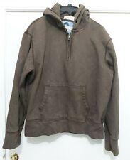 Gap 1969 Brown Pullover 1/4 Zip Hoodie Sweatshirt  EUC Vintage Look Adult Large