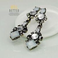 Boucles d`Oreilles Clips Pendante Longue Bleu Pale Vintage Mariage Cadeau J2