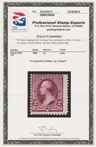 US Stamp - Scott #219D - 2c Washington - Lake - Mint H - O.G.- PSE Certificate