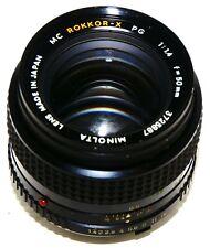 MC MINOLTA PG 50mm f/1.4 Manual Focus Lens - Japan - ISSUE = SLIGHT SOFT FOCUS