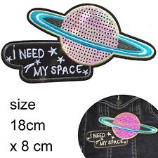 Sequin Planet iron on patch Need Space Saturn Star Astronomy embroidery patches