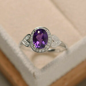 Halo Style 14K White Gold Over 1.7 Ct Oval Cut Amethyst Diamond Birthday Ring
