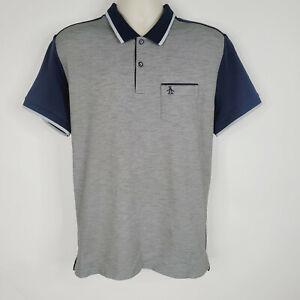 Penguin Mens Polo Golf Shirt Large Blue Gray Short Sleeve Pima Cotton Blend READ