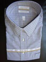 Roundtree Yorke Dress Shirt * Blue Brown Tattersall Check 18.5 - 34/35 BIG NWT