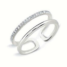 Handmade in USA 14k White Gold .18ctw Diamond Adjustable Midi Ring NEW with Tags