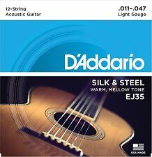 D'Addario Guitar Strings  EJ35 12-String  Silk & Steel Folk  11-47