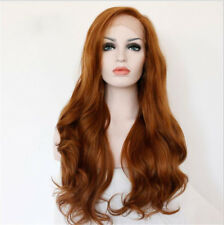 """24"""" Long Wavy Lace Front Wig Light Auburn Brown Heat Resistant Synthetic Hair"""