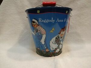 SCHYLLING TIN PAIL SAND TOY CHILDRENS CHRISTMAS GIFT RAGGEDY ANN AND ANDY