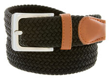 "7001G Men's Fabric Leather Elastic Woven Stretch Belt 1-3/8"" Wide"