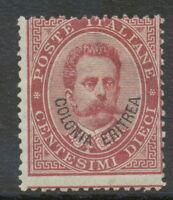 "ITALIAN ERITREA 1893 King Umberto I 10 C overprint ""Colonia Eritrea"" M/M UNUSED"